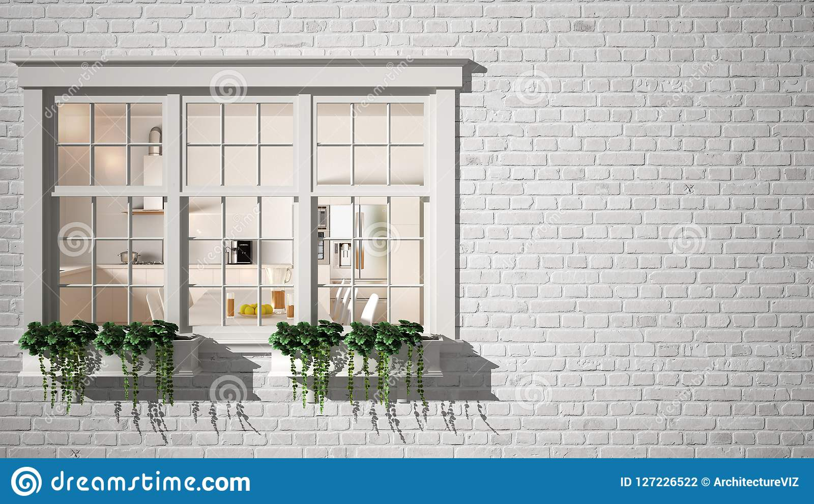 Exterior brick wall with white window with potted plant, showing interior contemporary kitchen, blank background with copy space,