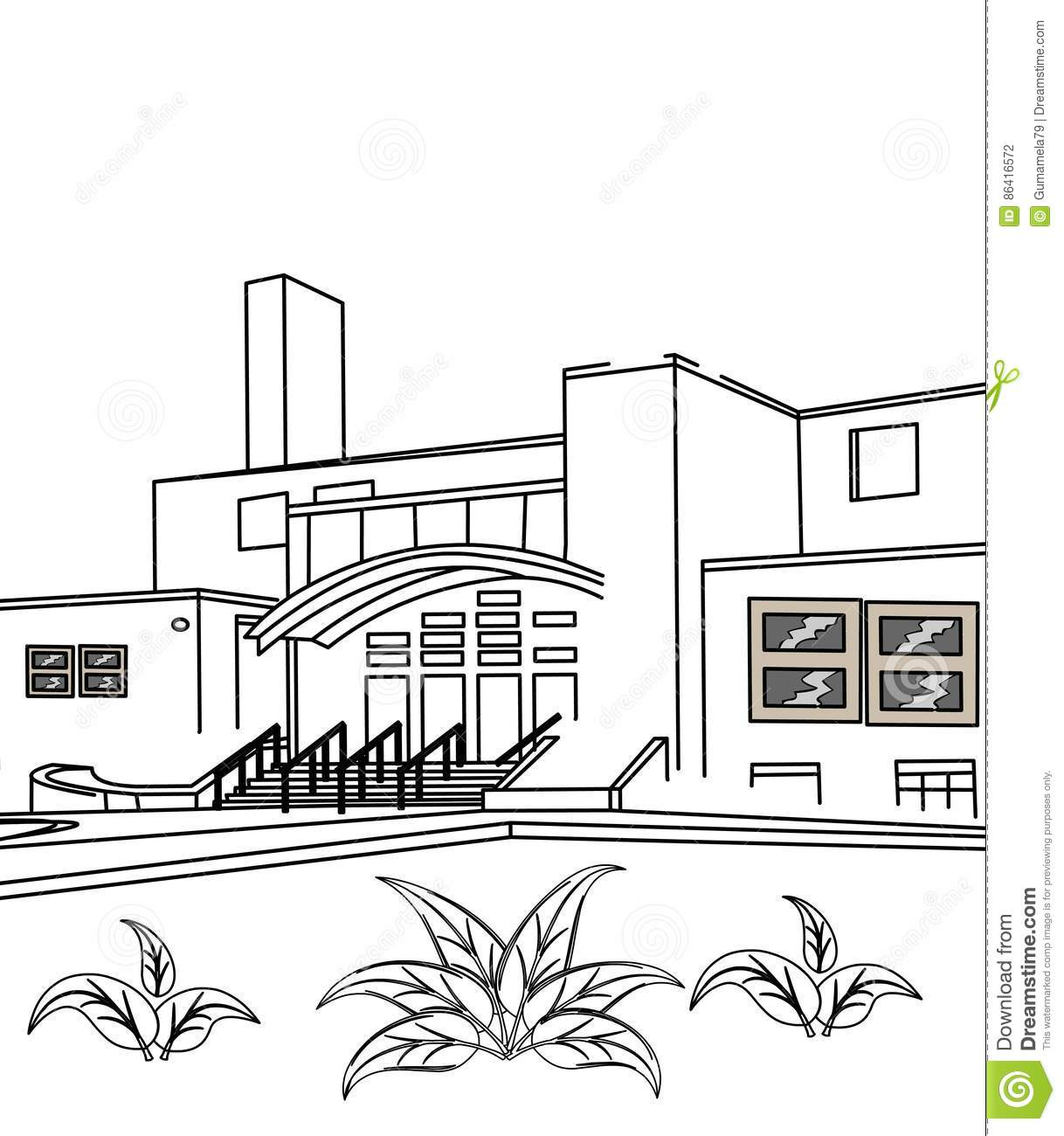 Exterior Building Coloring Page Stock Illustration - Illustration of ...