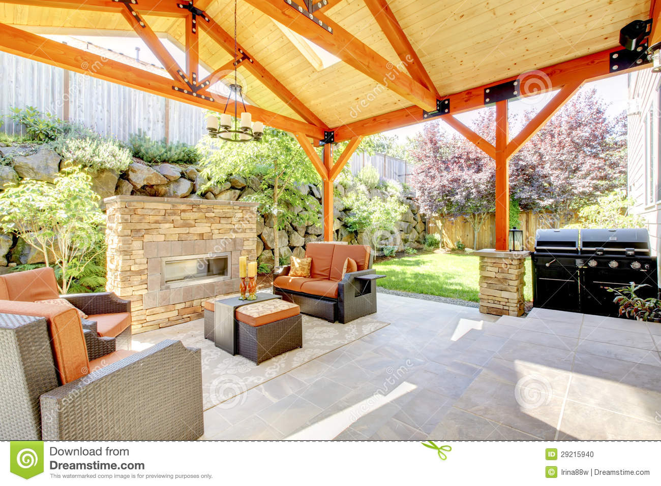 Exterior Covered Patio With Fireplace And Furniture Stock Image 292
