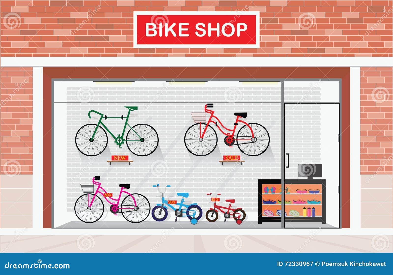 Exterior de las tiendas de bicicleta o tiendas de la bici interiores