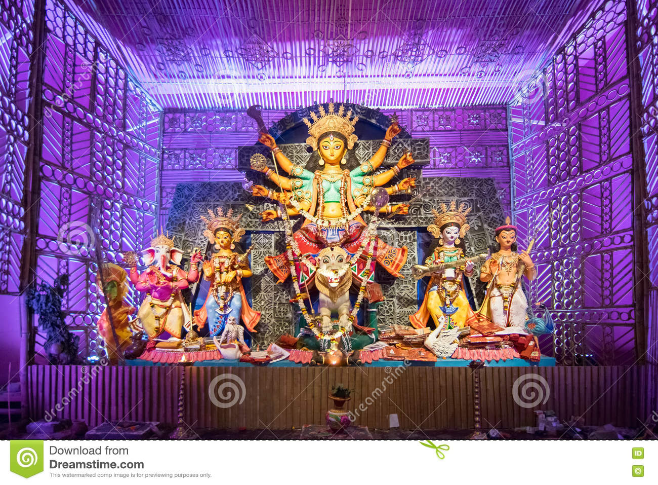 Exterior of decorated durga puja pandal at kolkata west bengal exterior of decorated durga puja pandal at kolkata west bengal india holiday community thecheapjerseys Images
