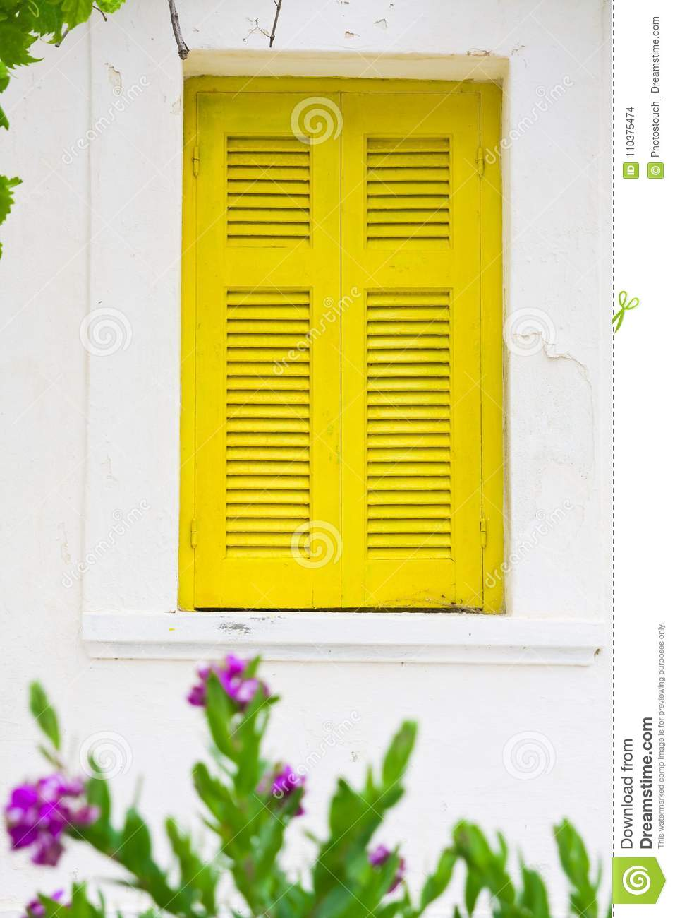 Old Yellow Painted Wooden Window Shutter Stock Photo - Image of ...