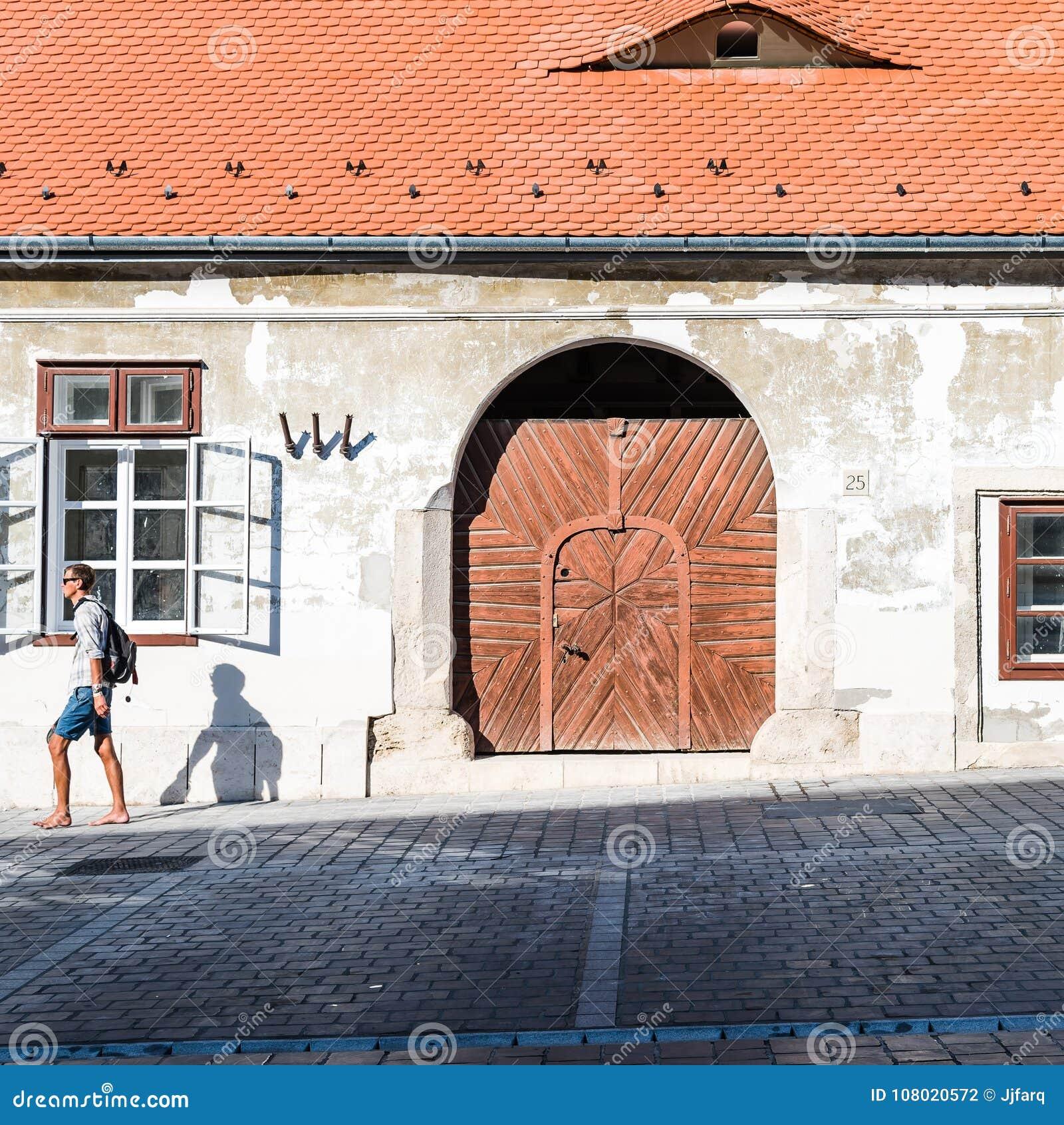 Exterior Door Of Residential Building In Budapest Editorial