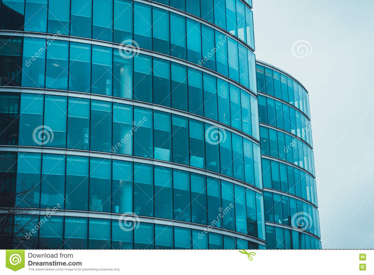 Exterior Facade Of Two Curved Commercial Buildings Stock Photo