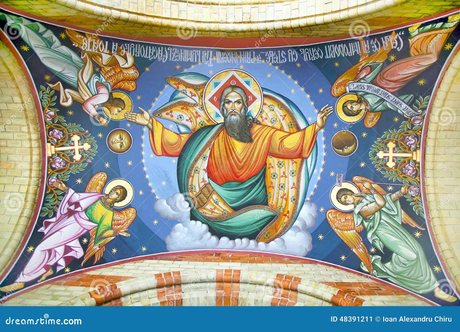 Exterior fresco on Cathedral of Sibiu