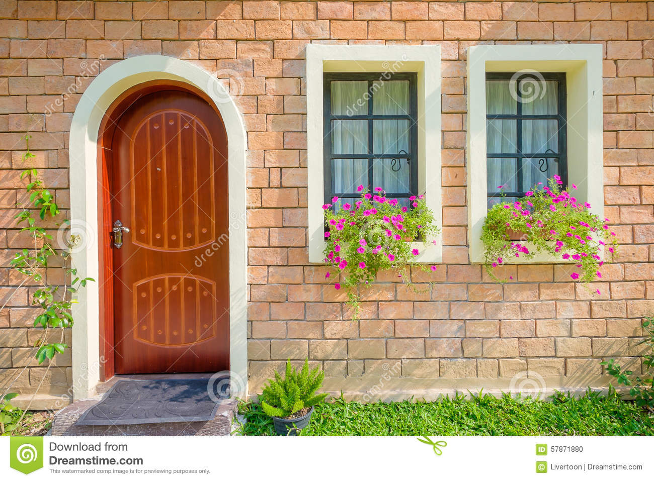 Exterior and front door of a beautiful old house stock for Classic house fronts