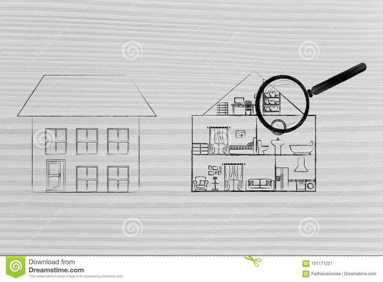 Exterior And Interior Of A House With Magnifying Glass