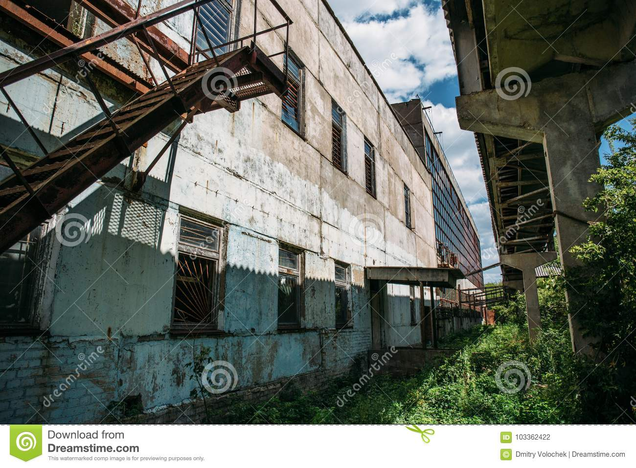 Exterior Of A Large Abandoned Factory Stock Photo - Image of factory ... for Abandoned Factory Russia  575lpg