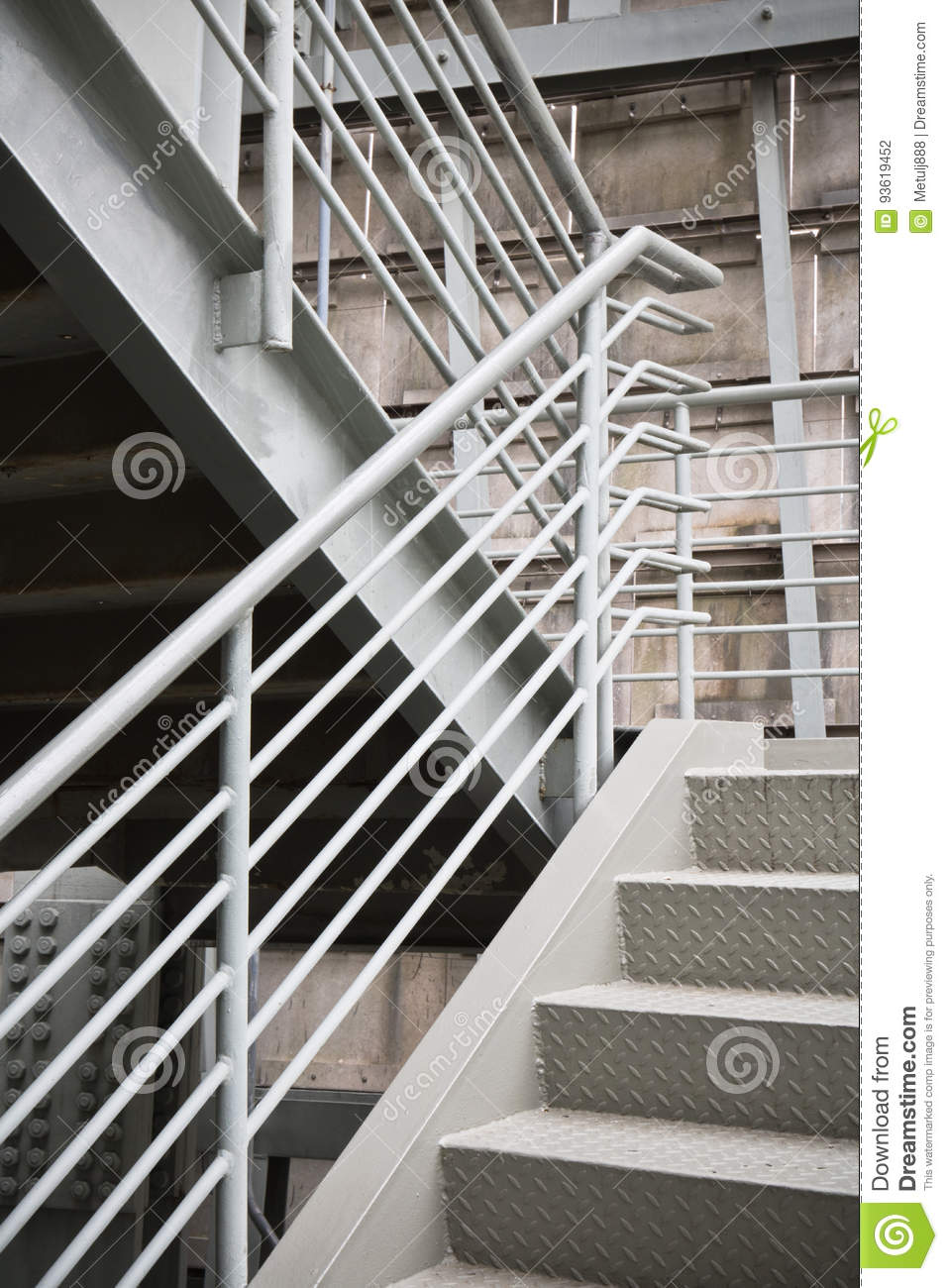 Exterior Metal Structure Building Exit Stairs Background Copy Space