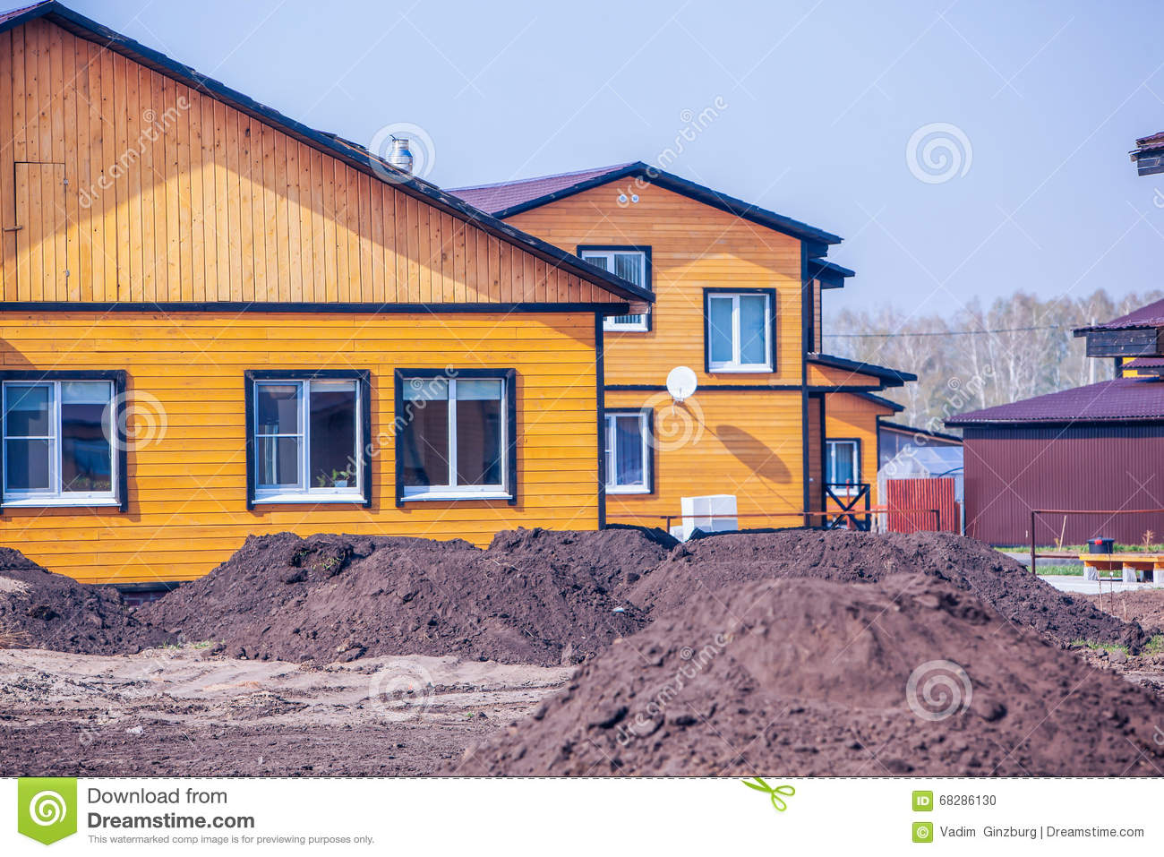 Exterior of modern wooden houses stock photo image 68286130 for Process of building a new house