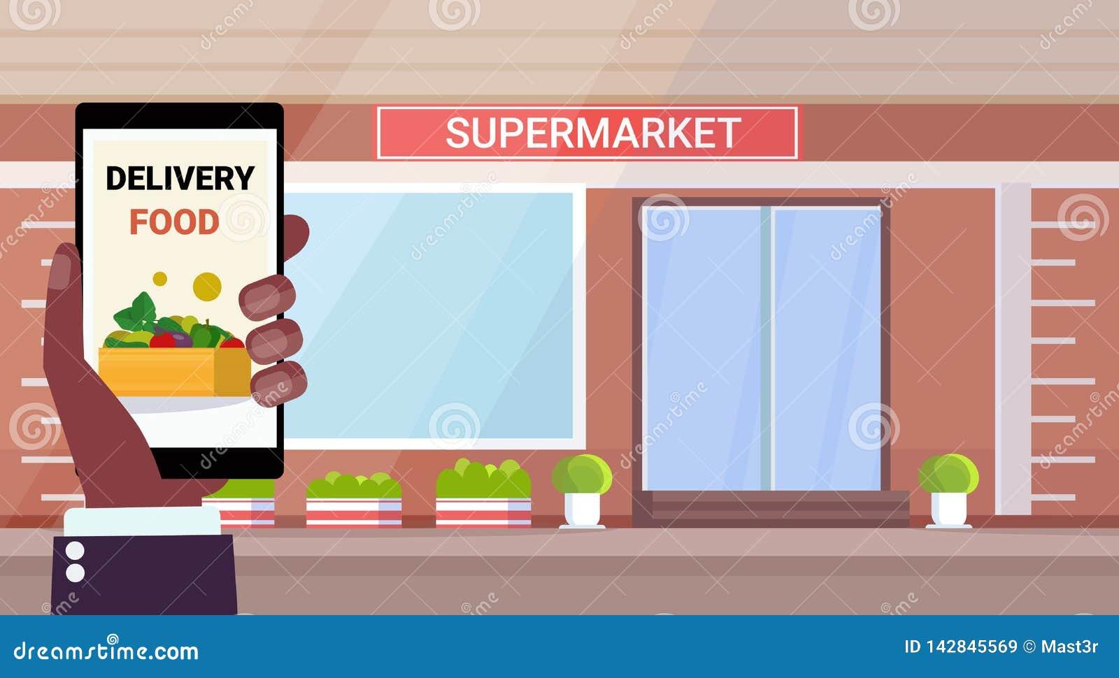 Exterior moderno del supermercado de la tienda de ultramarinos de la aplicación móvil de la comida del concepto en línea de la en