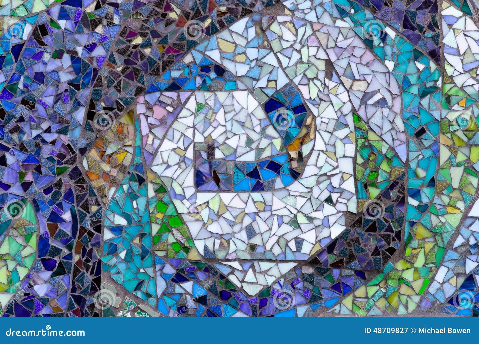 Exterior Mosaic Design Of Assorted Broken Tile Stock