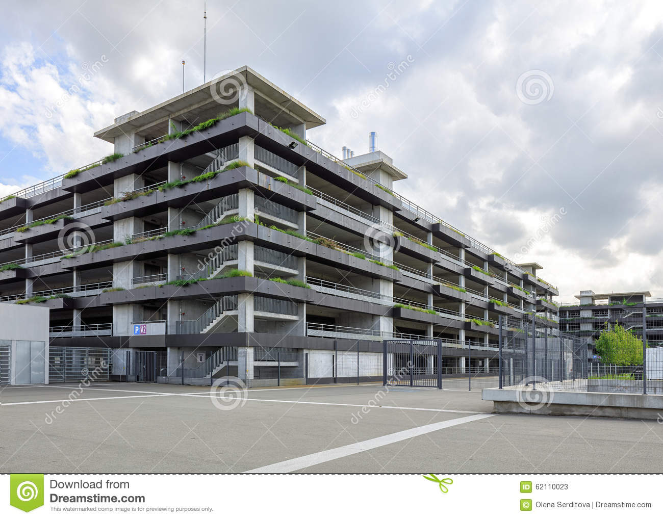 Exterior Of Multi level Public Car Parking Stock Image Area Column 62110023