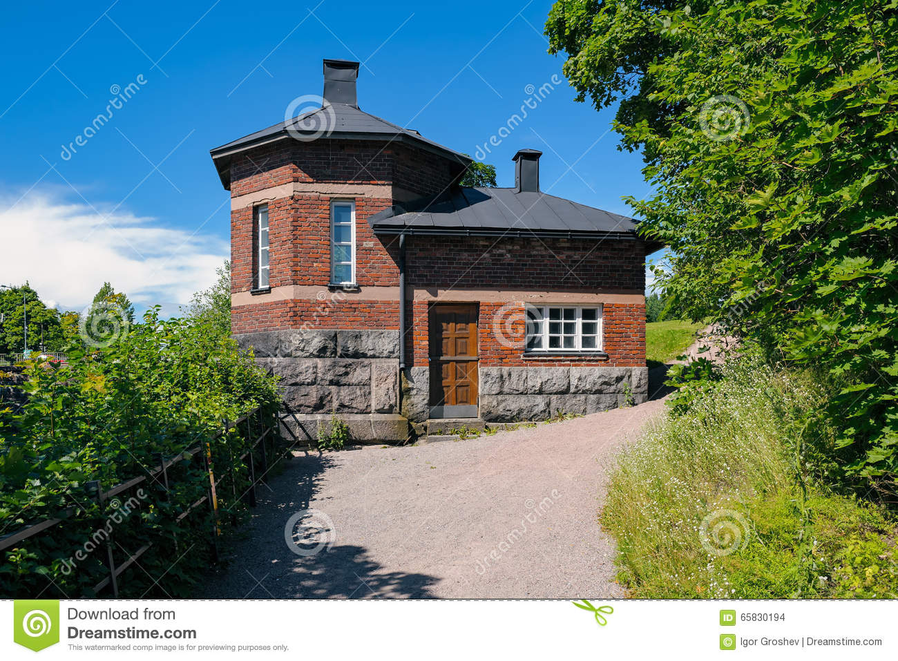 Exterior Of An Old Brick House On A Stone Foundation Stock Photo ...