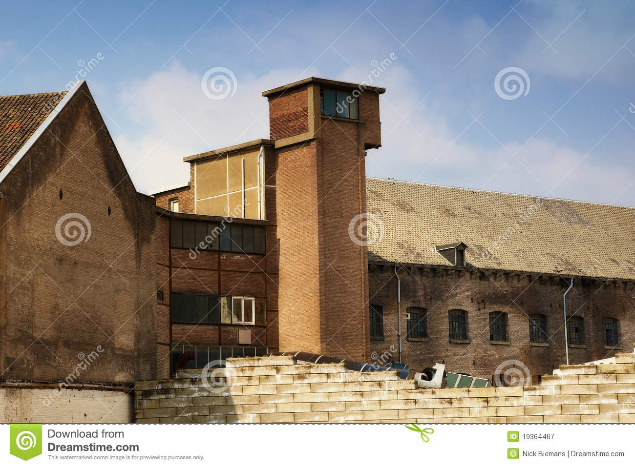 Exterior of old factory royalty free stock photography for Factory exterior design