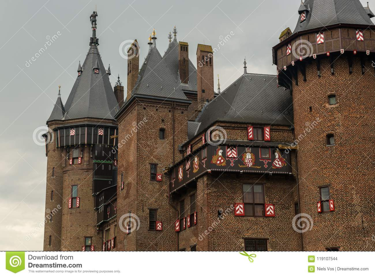 download exterior of parts of de haar castle with towers and windows in neo gothic style