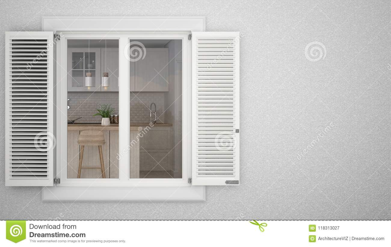 Exterior Plaster Wall With White Window With Shutters