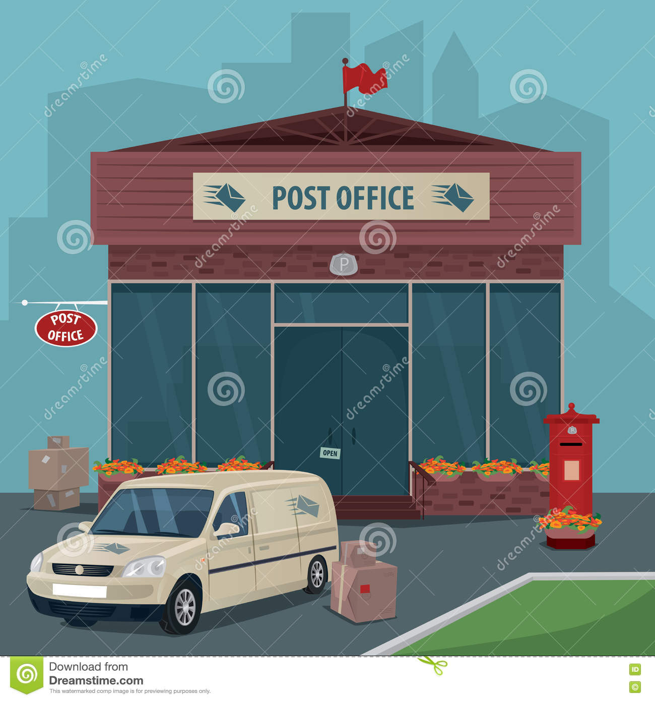 Exterior Of Post Office And Car Of Postal Service Stock