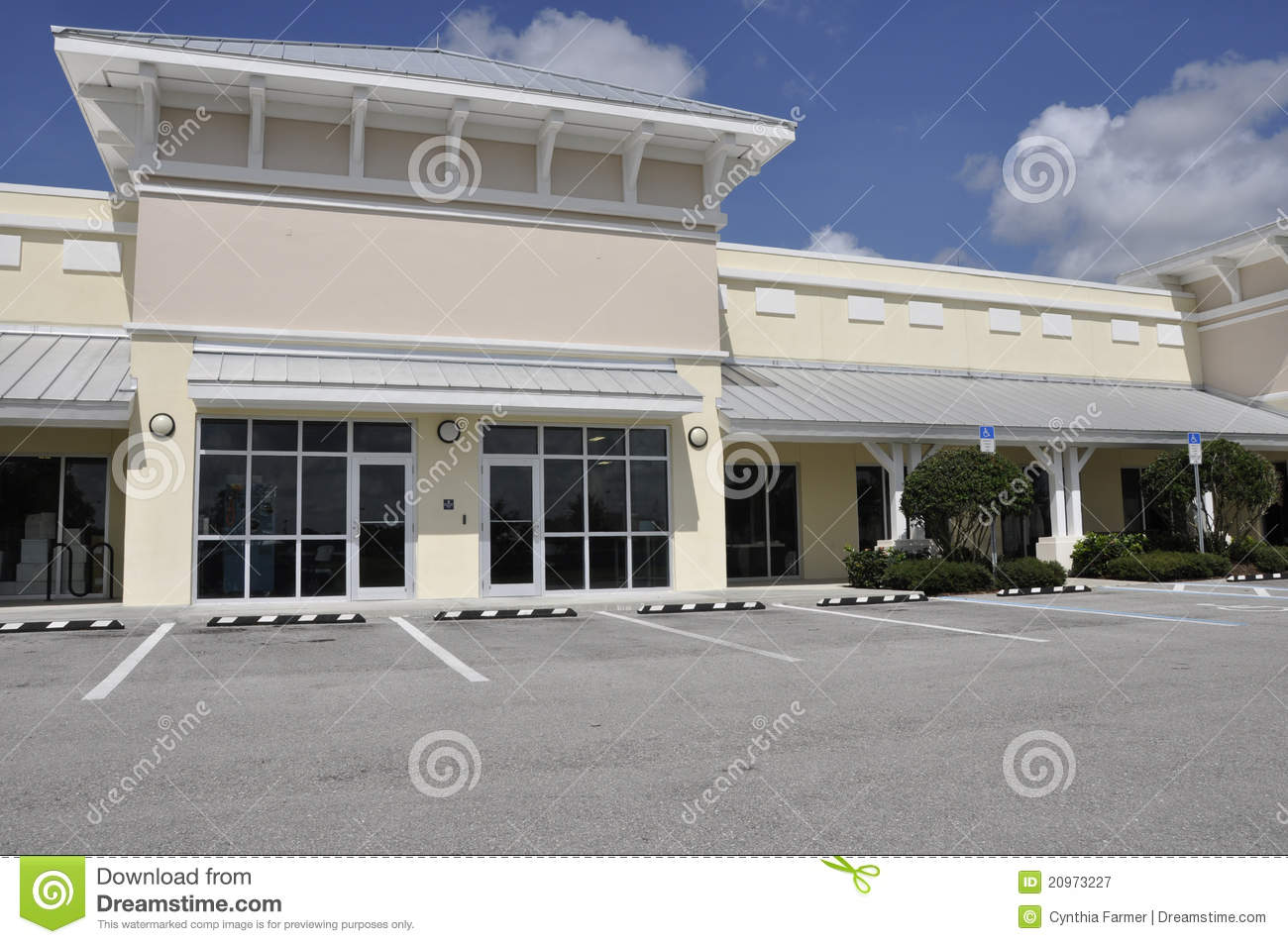 Exterior of a small office or retail store stock image for Retail exterior design