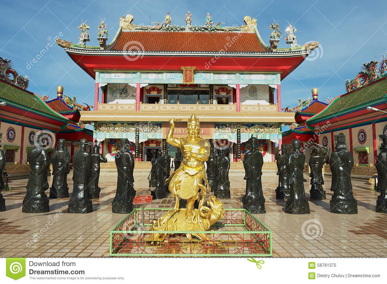 Exterior of the statues of Chinese Shaolin monks at Anek Kusala Sala (Viharn Sien) Chinese temple in Pattaya, Thailand.