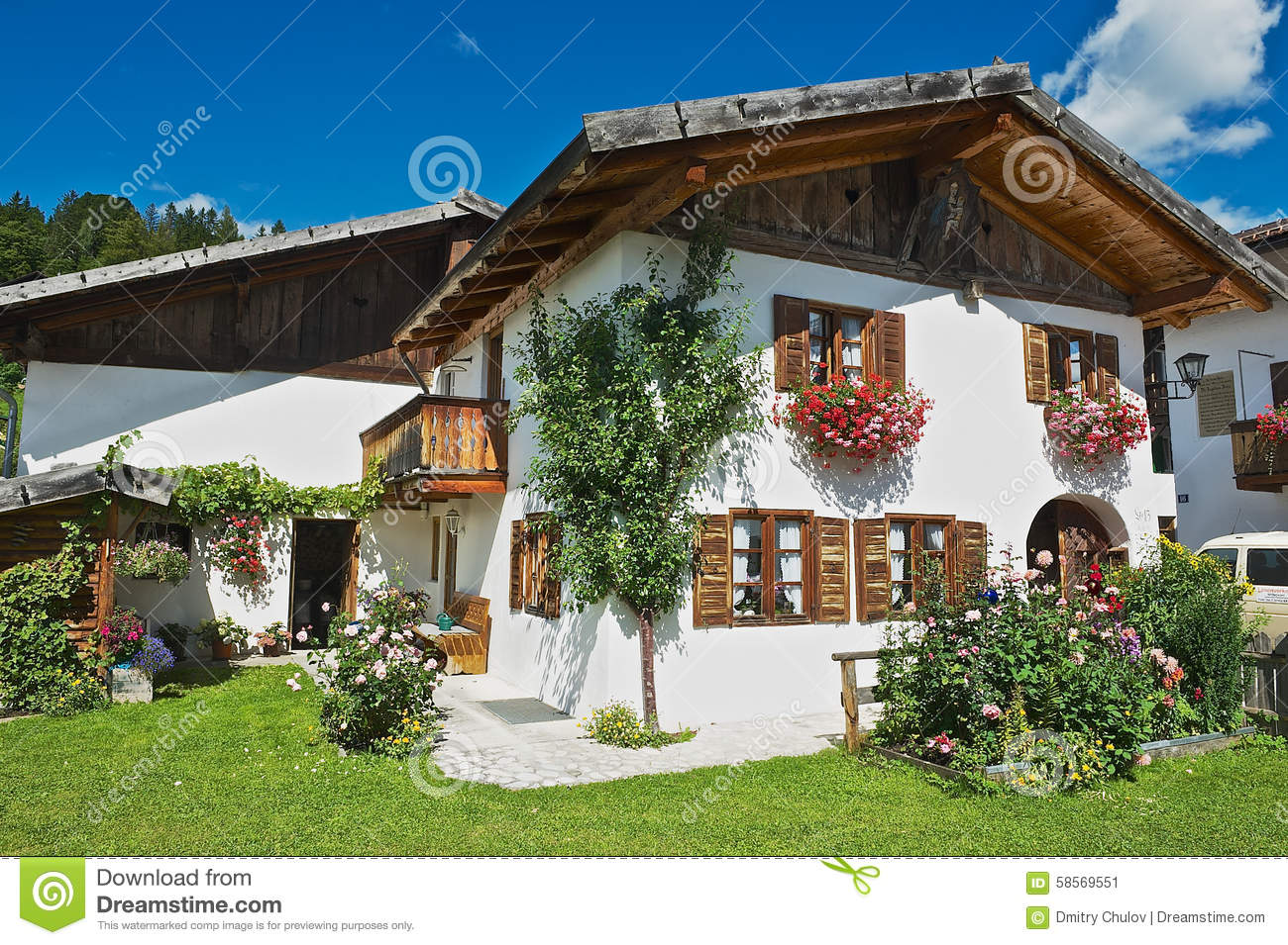 Exterior Of A Traditional Bavarian Countryside House In