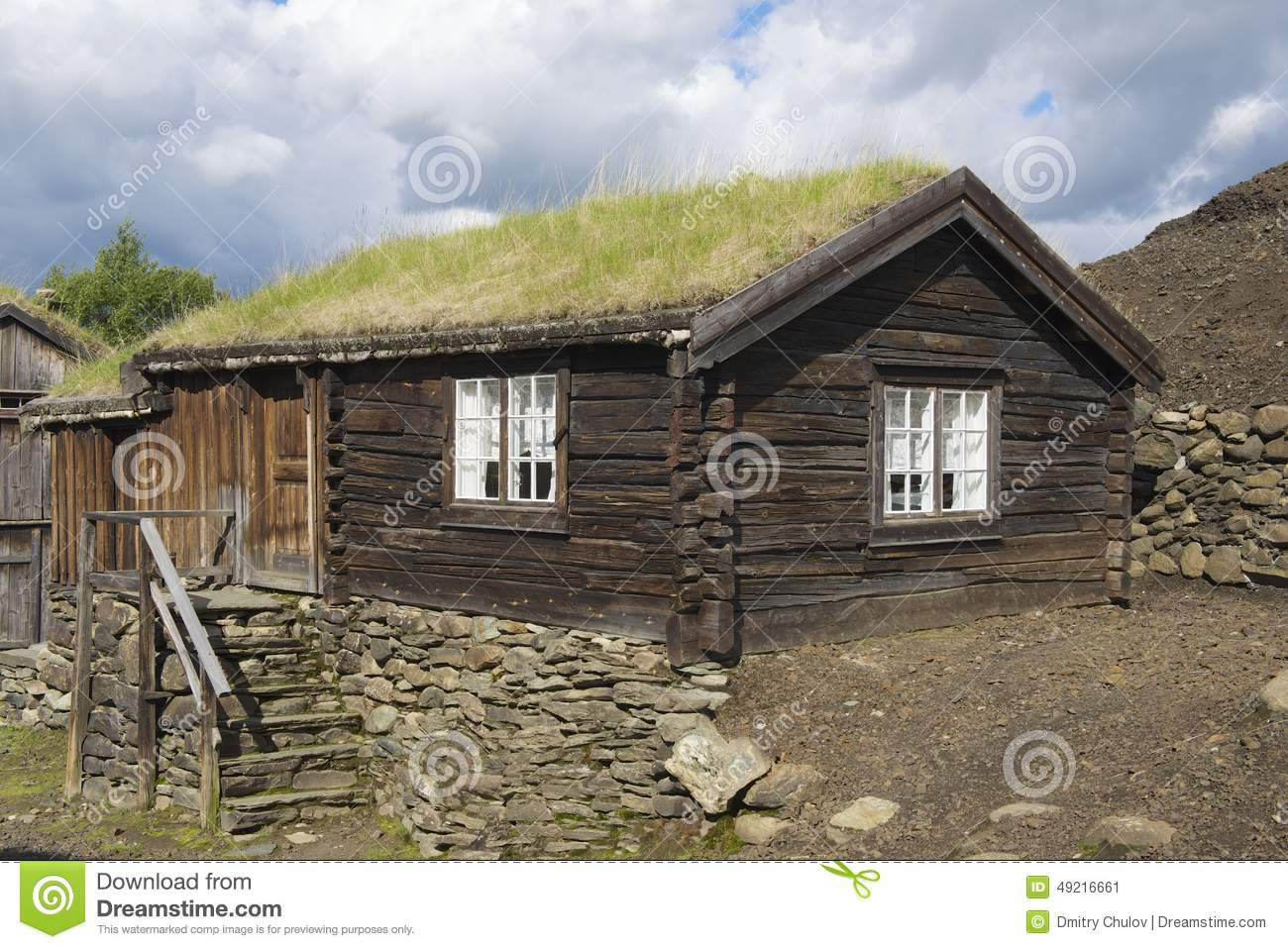 Exterior of the traditional timber house of the copper mines town of roros norway stock image - Traditional houses attic ...