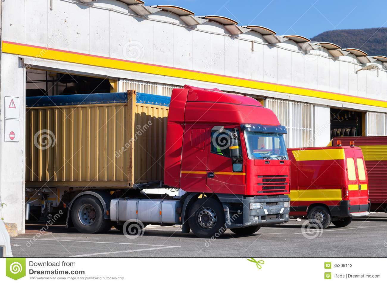 Garages For Trucks : Exterior of truck service garage stock photos image