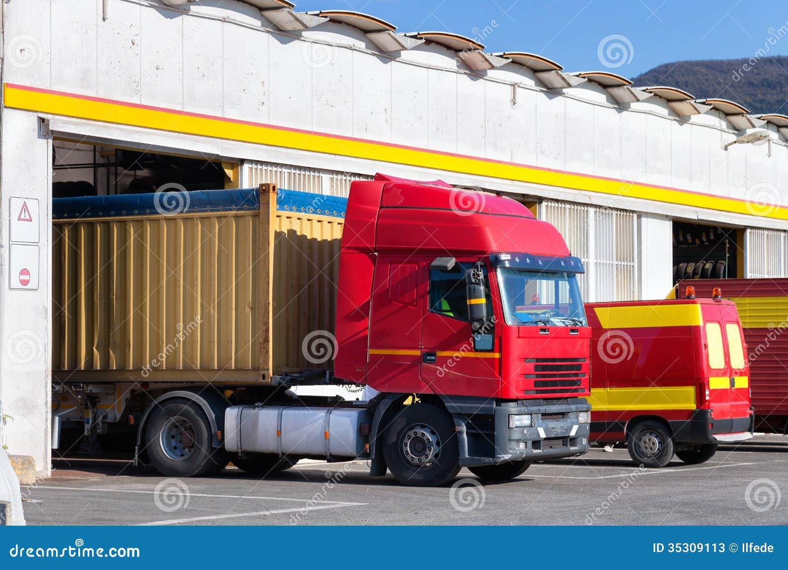 Garage For Service Trucks : Exterior of truck service garage stock photos image