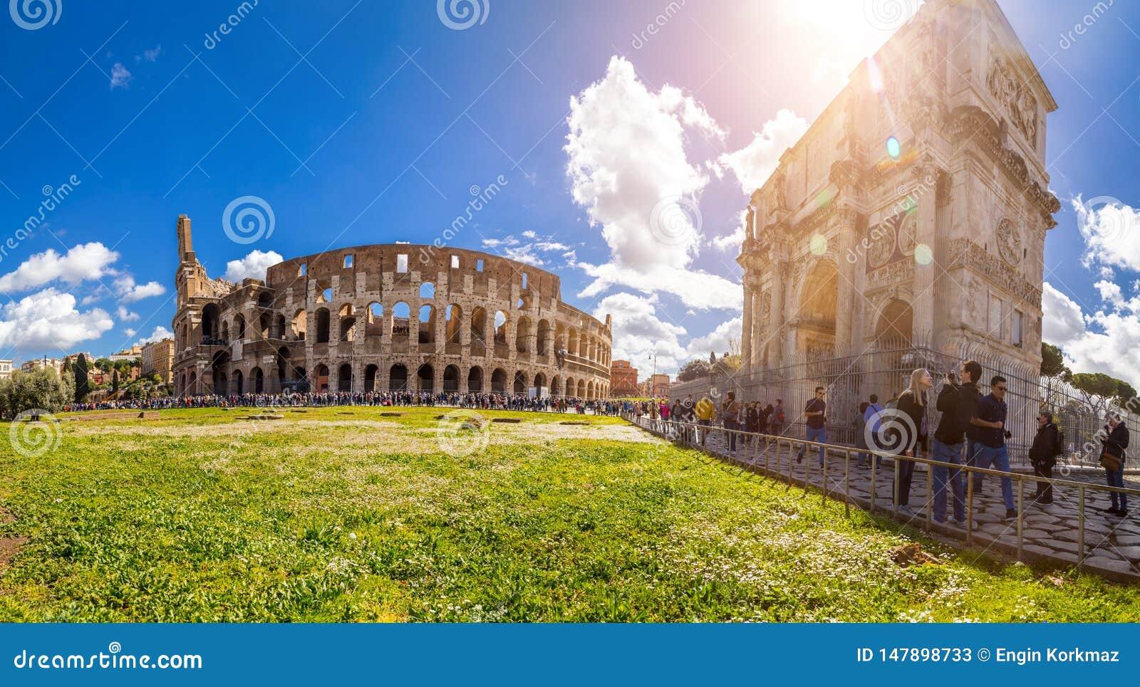 Exterior view of the ancient Roman Colloseum in Rome