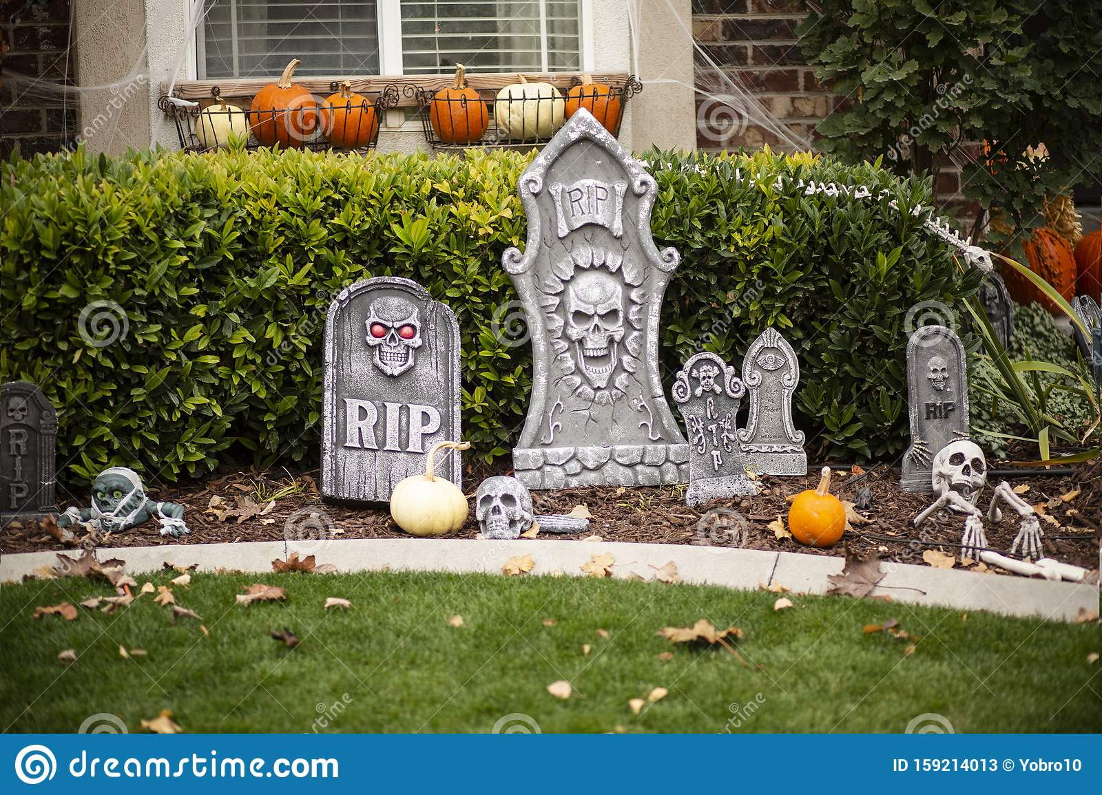 Exterior View Of Home Decorated With Halloween Decorations