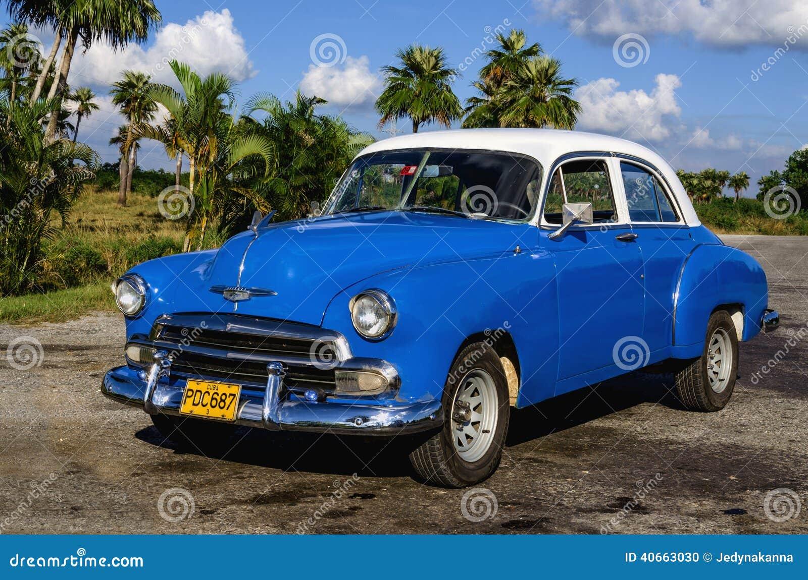 old vintage american blue car in havana city royalty free stock photography. Black Bedroom Furniture Sets. Home Design Ideas