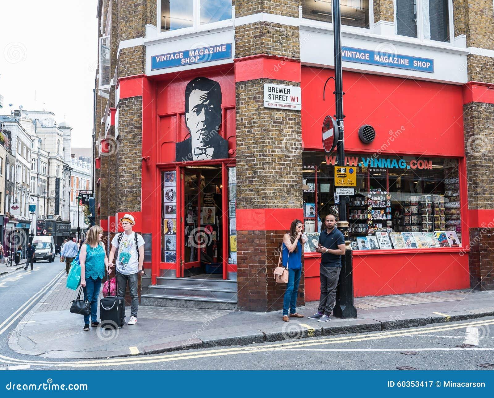 Exterior of Vintage Magazine Shop, Brewer Street, London W1