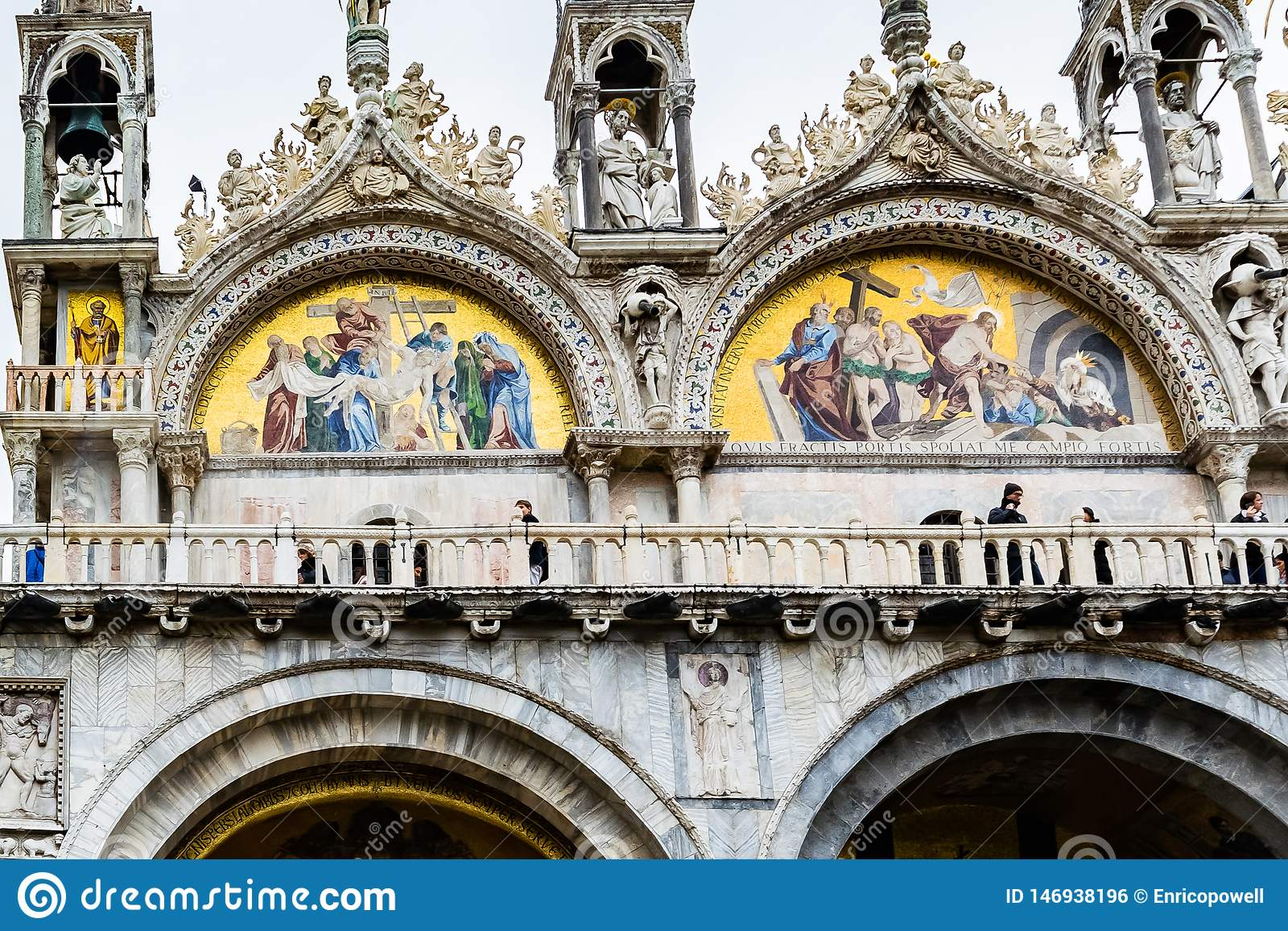 Mosaic artwork on San Marco Basilica Patriarchal Cathedral of Saint Mark in Piazza San Marco St Marks Square, Venice, Italy