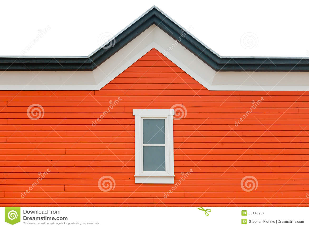 Exterior Wall Orange Siding Window And Roof Trim Stock