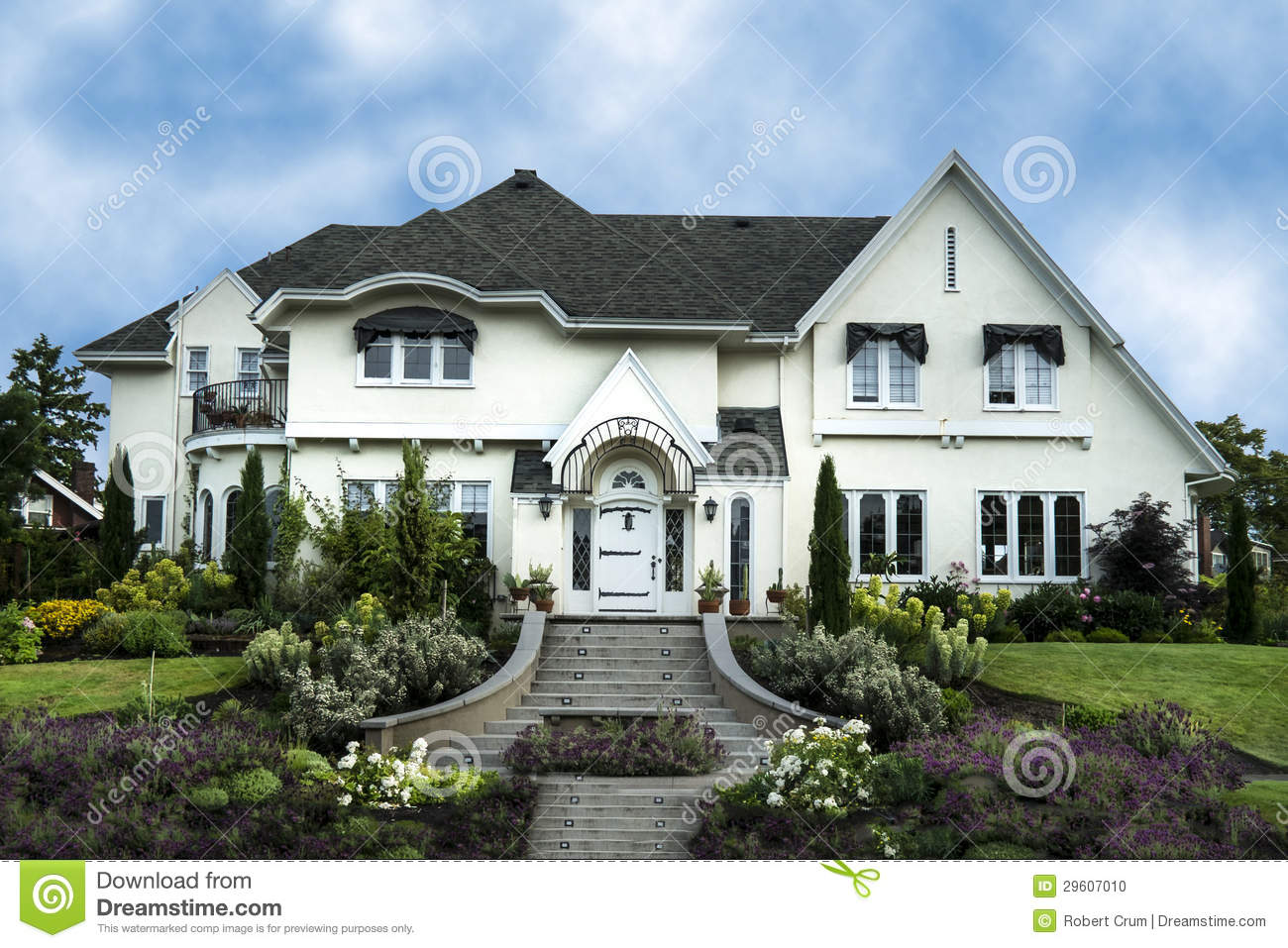 Exterior of white stucco luxury house stock photo image for Black and white house exterior design