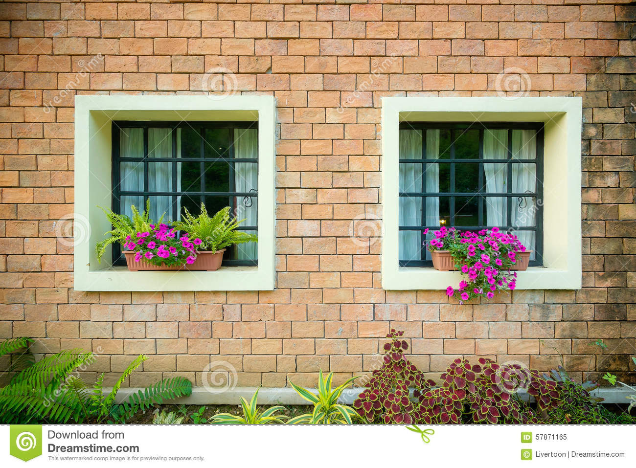 Exterior and windows of a beautiful old house stock photo for Exterior windows