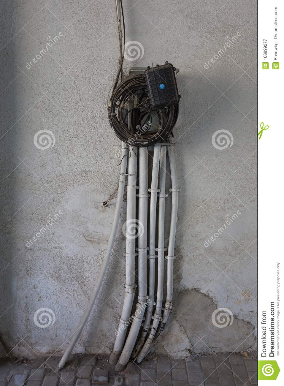 An Old Wall With Electric Wires Stock Image Of Connection Wiring In House