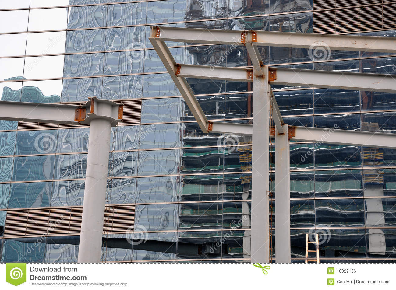 External Glass Wall Of Building And Steel Girder Royalty