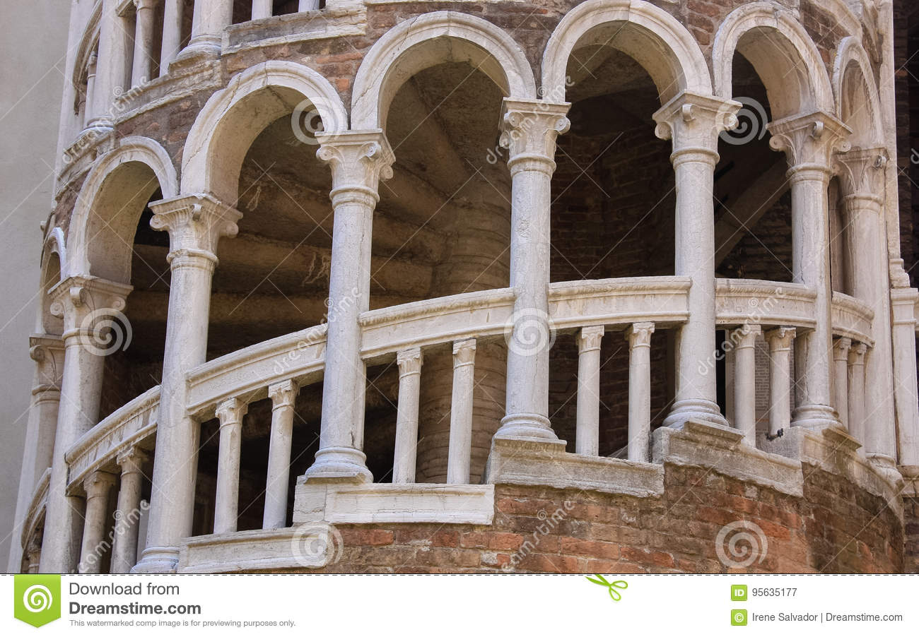 Download External Multi Arch Spiral Staircase Stock Image   Image Of Italy,  Venice:
