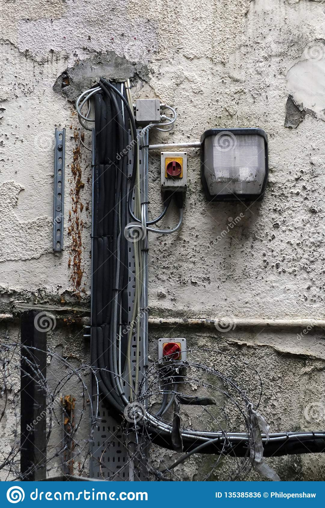 Marvelous External Security Light Mounted On An Old Shabby External Wall With Wiring Digital Resources Xeirawoestevosnl
