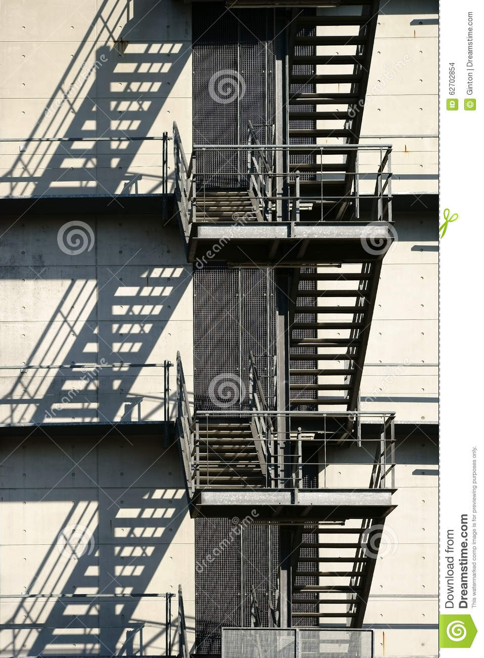 Download External Staircase Casts Shadows Stock Photo   Image Of Escape,  Symmetrical: 62702854