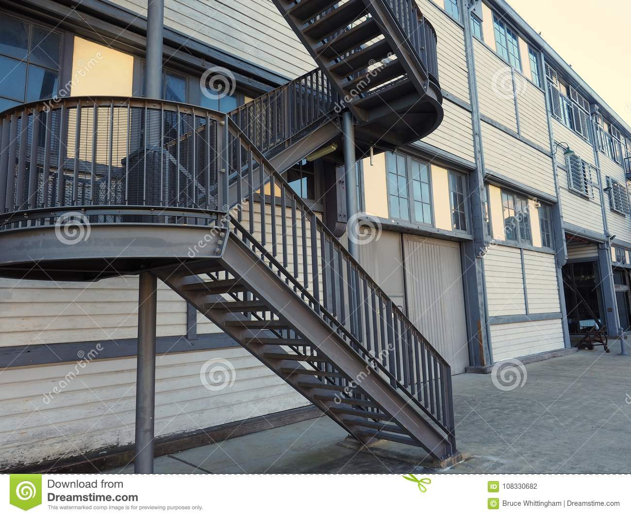 External Steel Staircase Modern Industrial Architecture Stock Photo