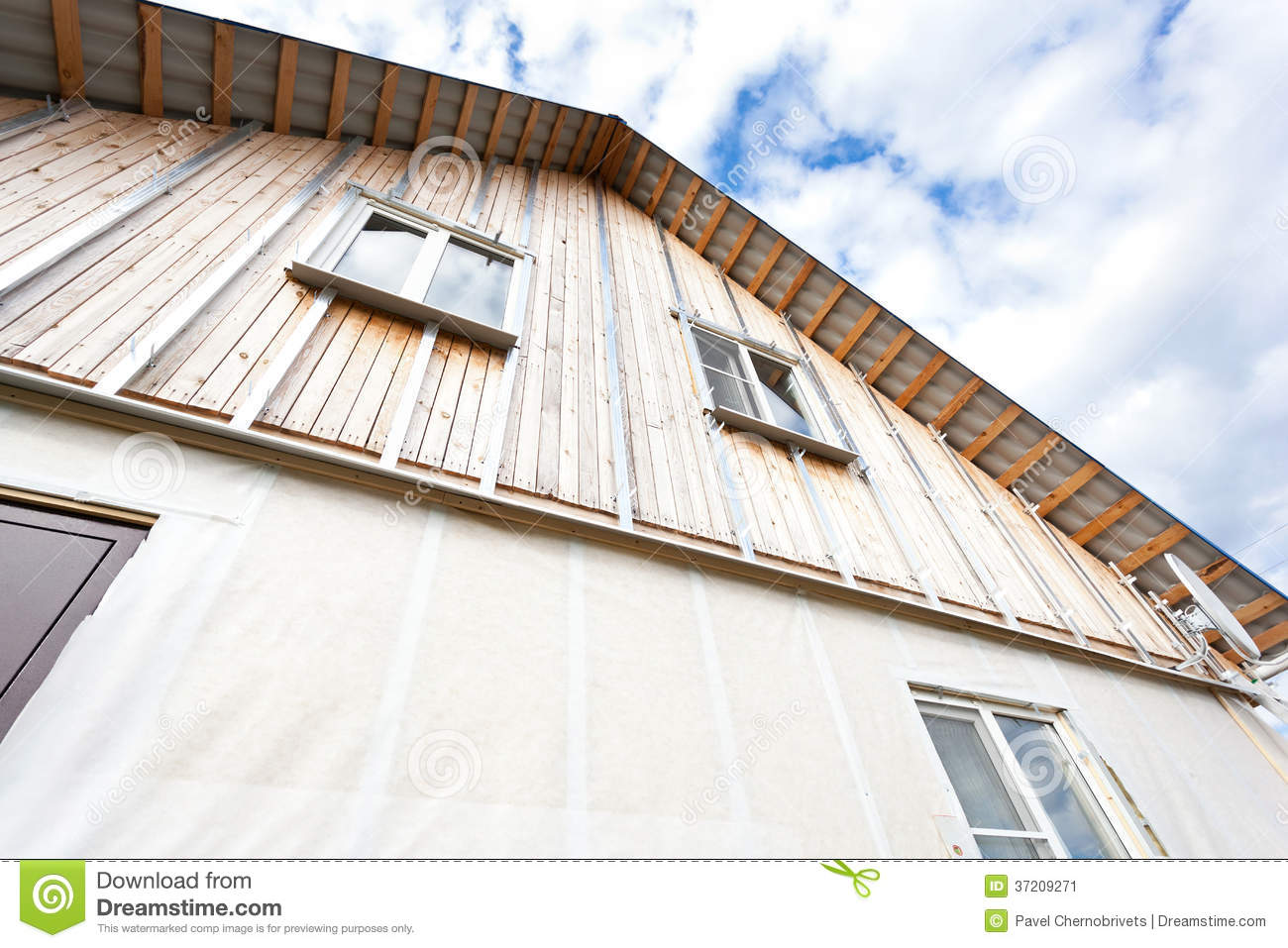 External wall insulation in wooden house stock image - Exterior house insulation under siding ...