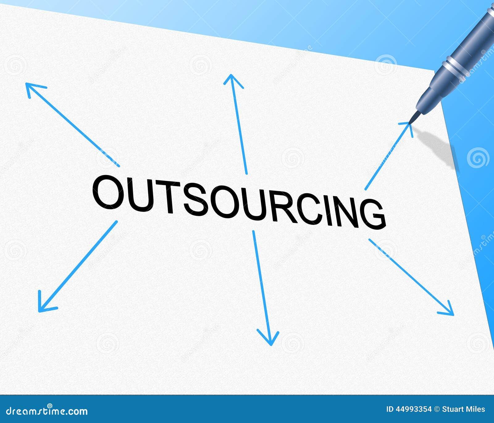 Externalice la externalización representa el contratista independiente y la contratación