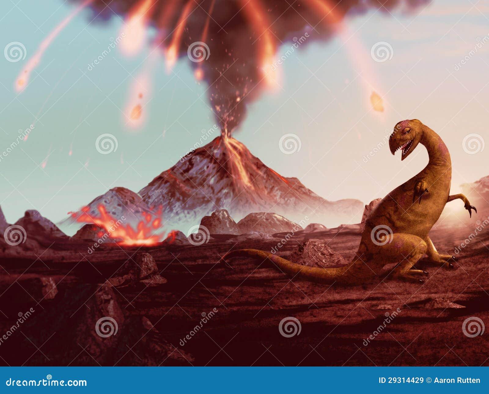 Extinção do dinossauro - entrando em erupção a arte finala do vulcão