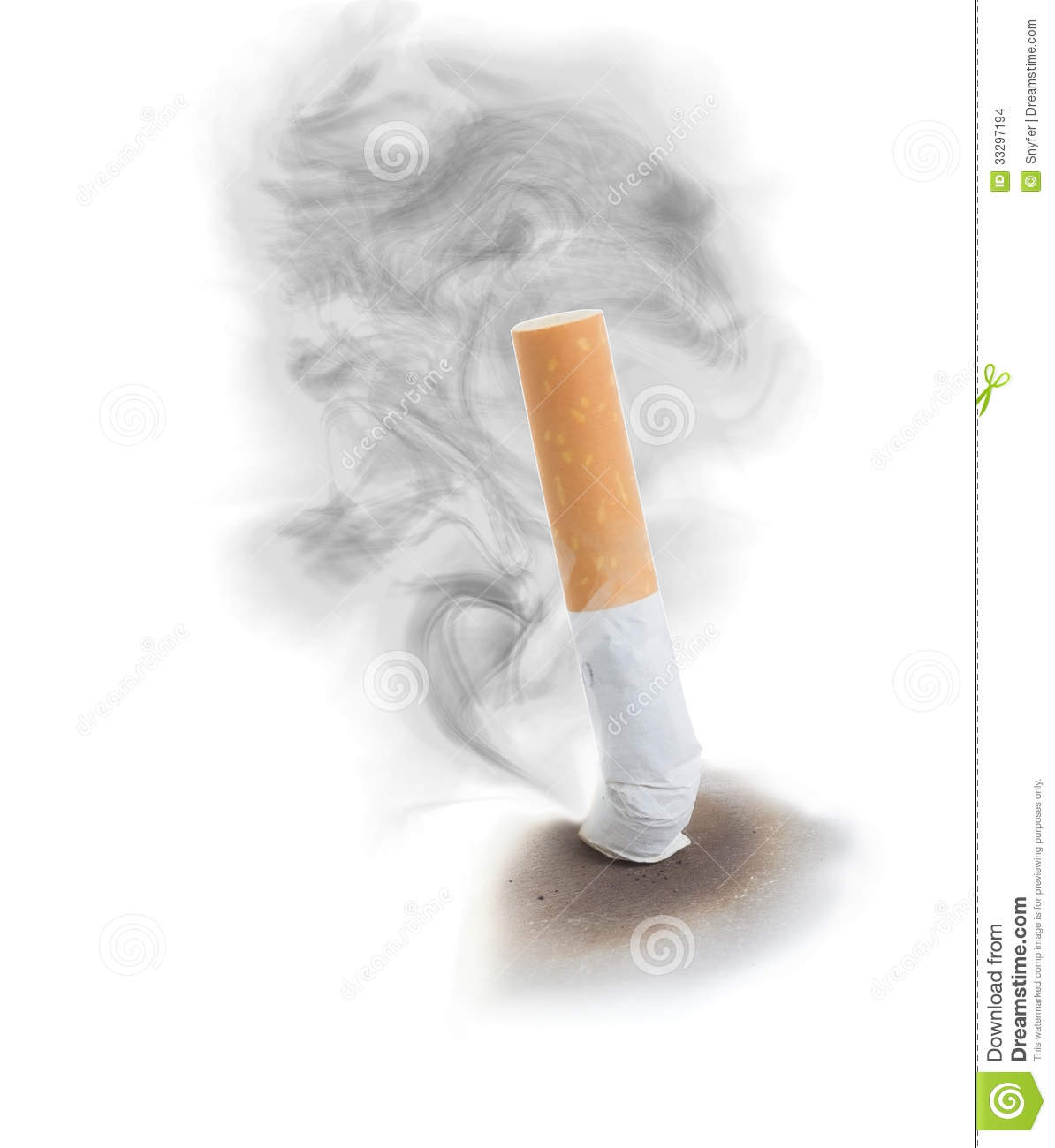 extinguised sigarette with smoke cloud stock images