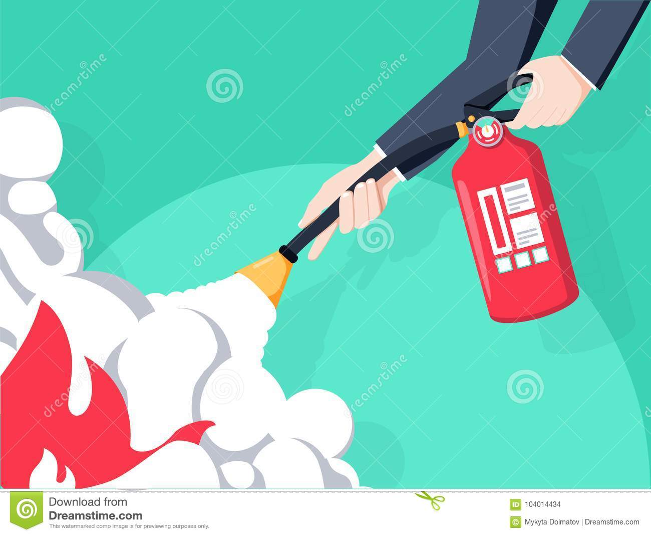Extinguish fire. Fireman hold in hand fire extinguisher. Vector illustration flat design. Isolated on background.