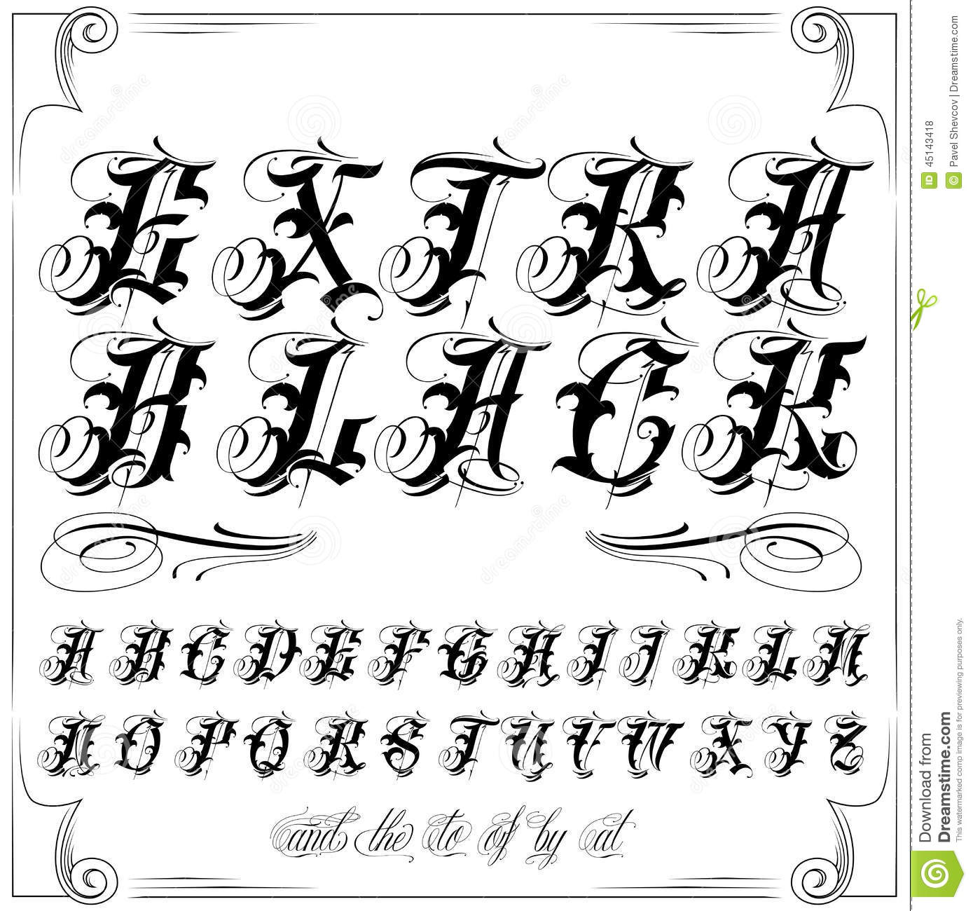 Modern Tattoo Old English Vector Lettering