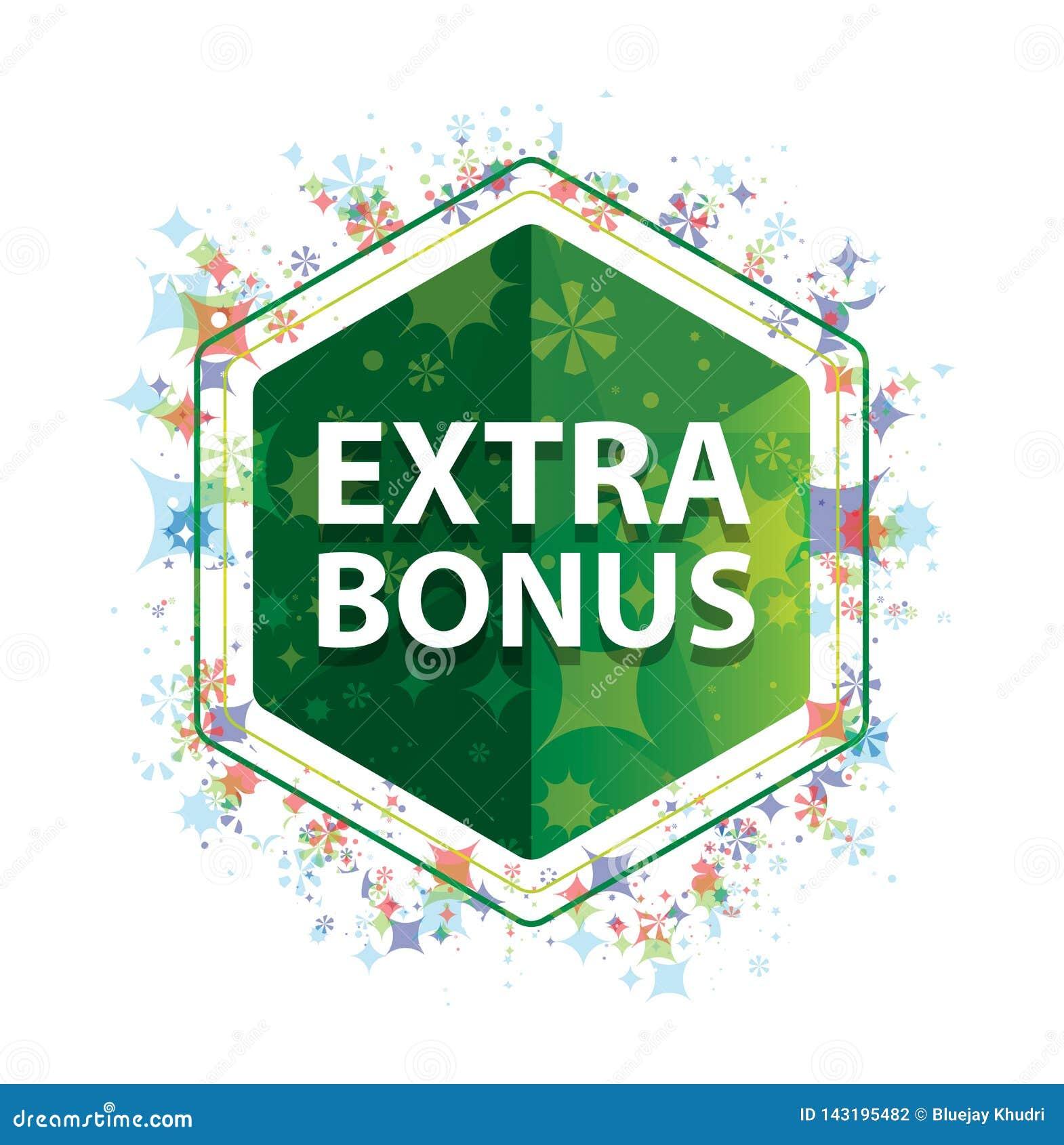 Extra Bonus floral plants pattern green hexagon button