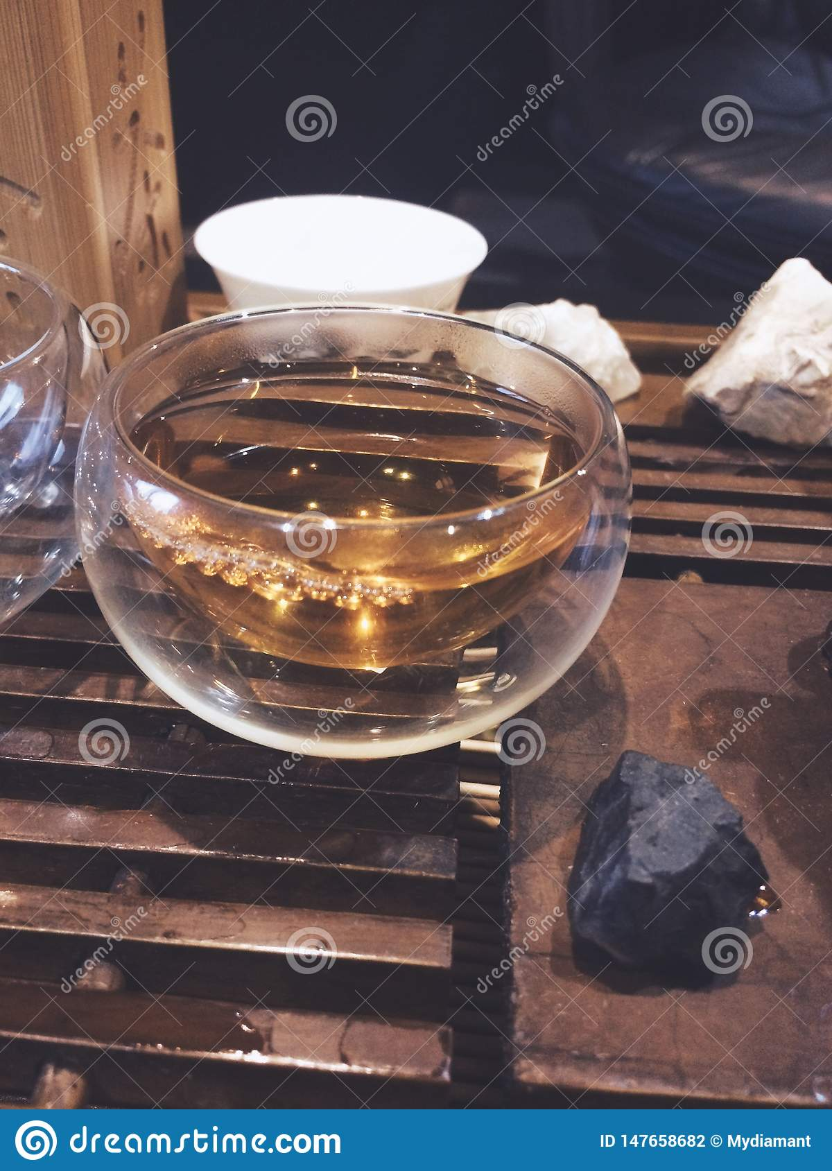 Extra close up glass small cup bubble, tea ceremony